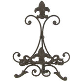 Brown Metal Easel With Fleur-De-Lis